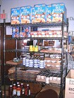 Shelves of Food Ready for Distribution
